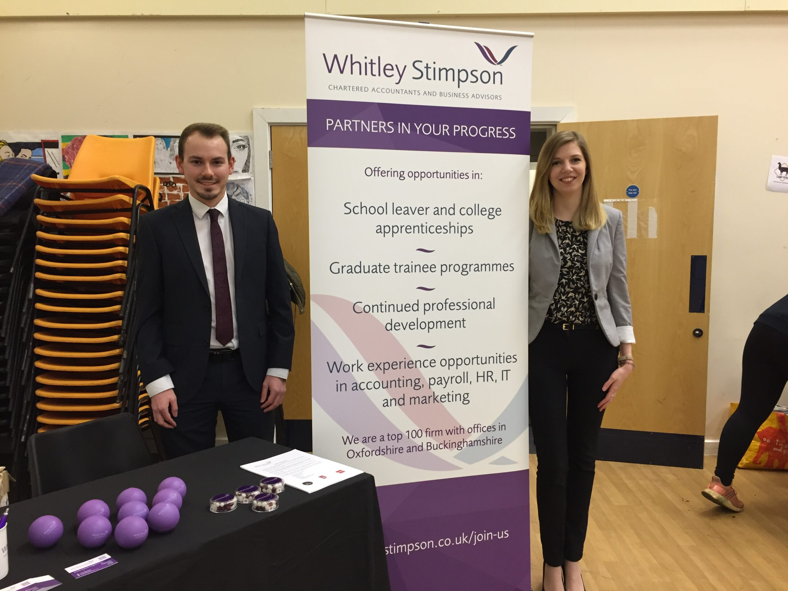 Whitley Stimpson attends Warriner School careers fair